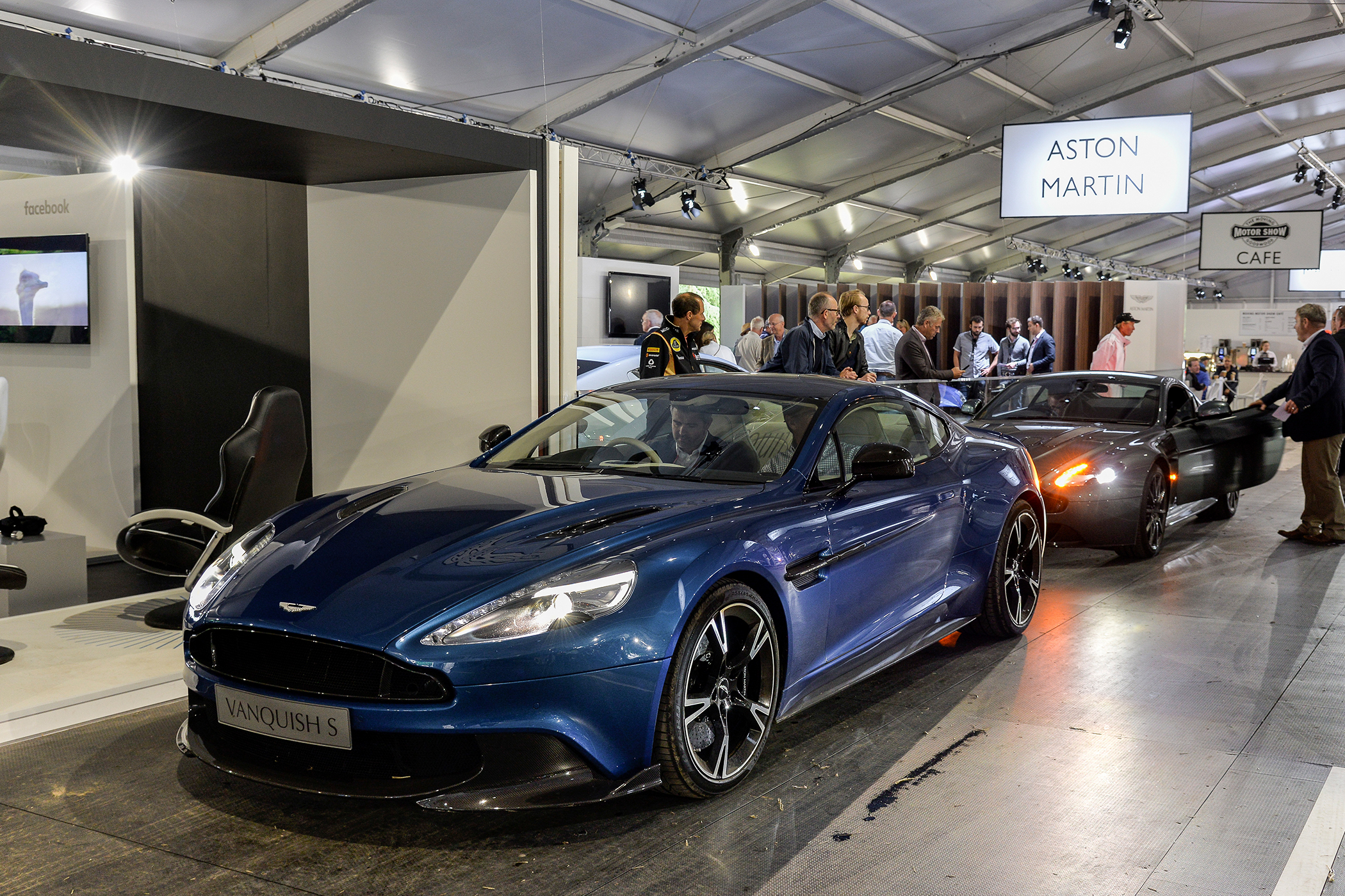 Blue Aston Martin model on display at Goodwood Festival of Speed 2017