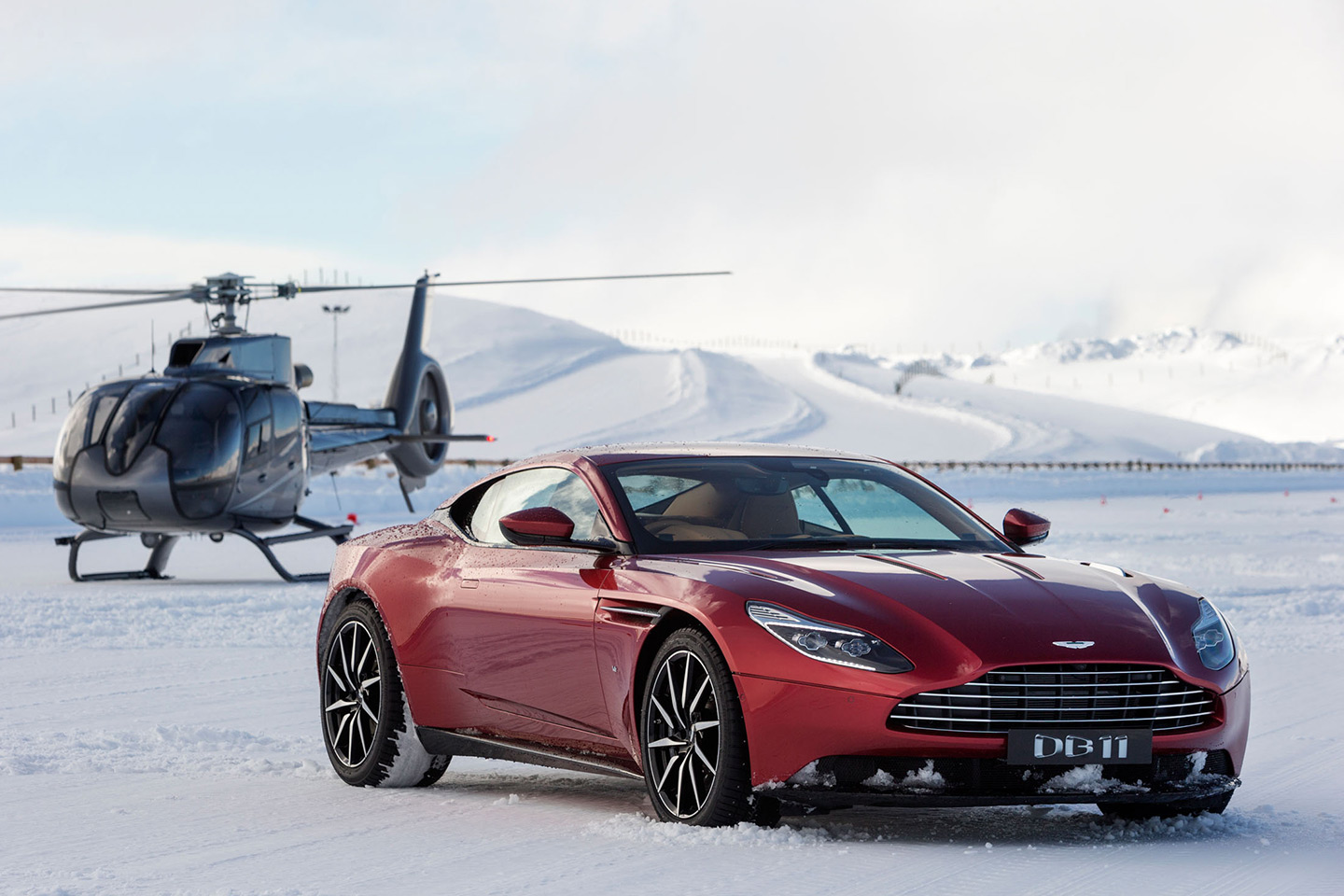 Red Aston Martin and Helicopter start point, during New Zealand on Ice event