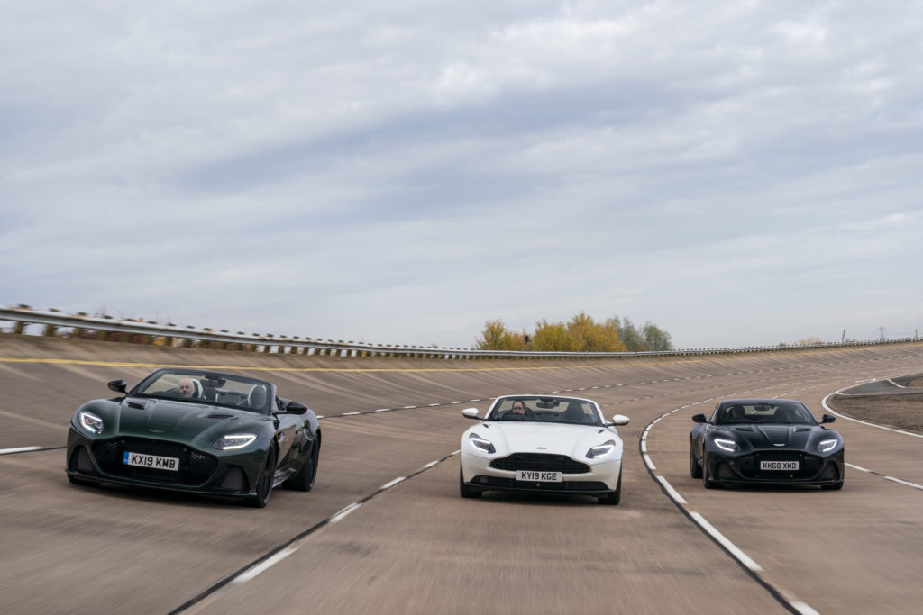 Aston Martins line up at Millbrook